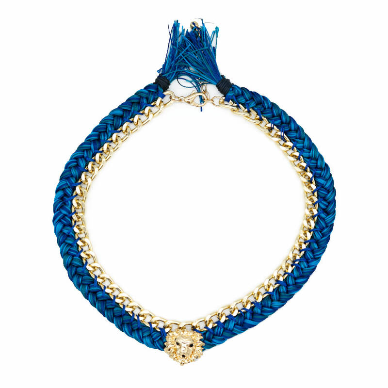 Tiger necklace Blue