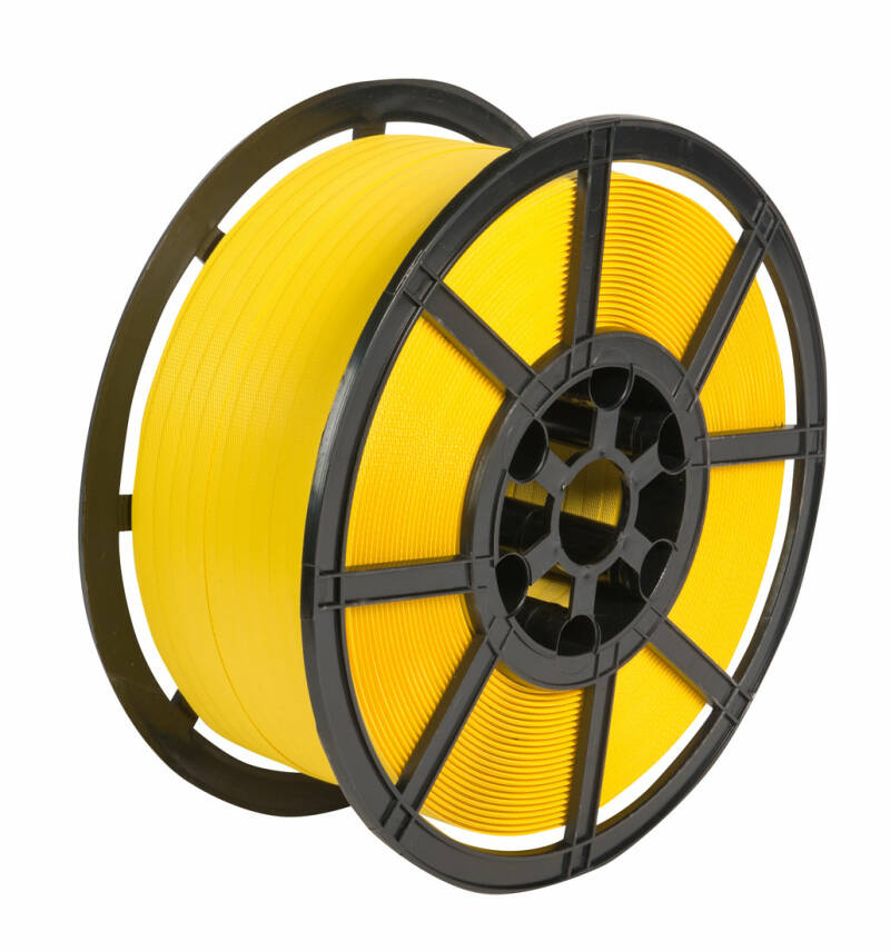 Yellow Hand Strapping 12mm x 1000m Reel Coil