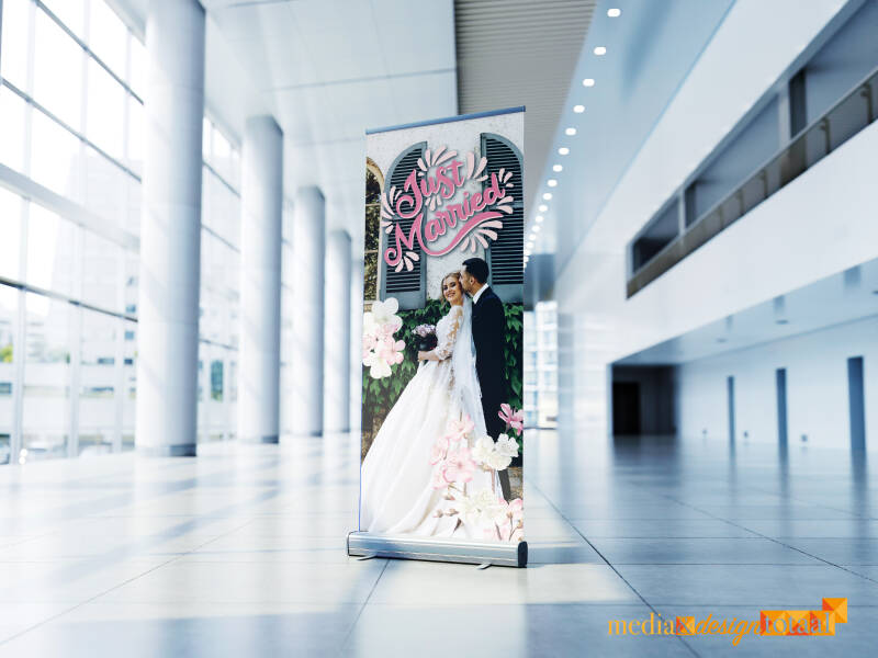 Roll Up Banner Just Married