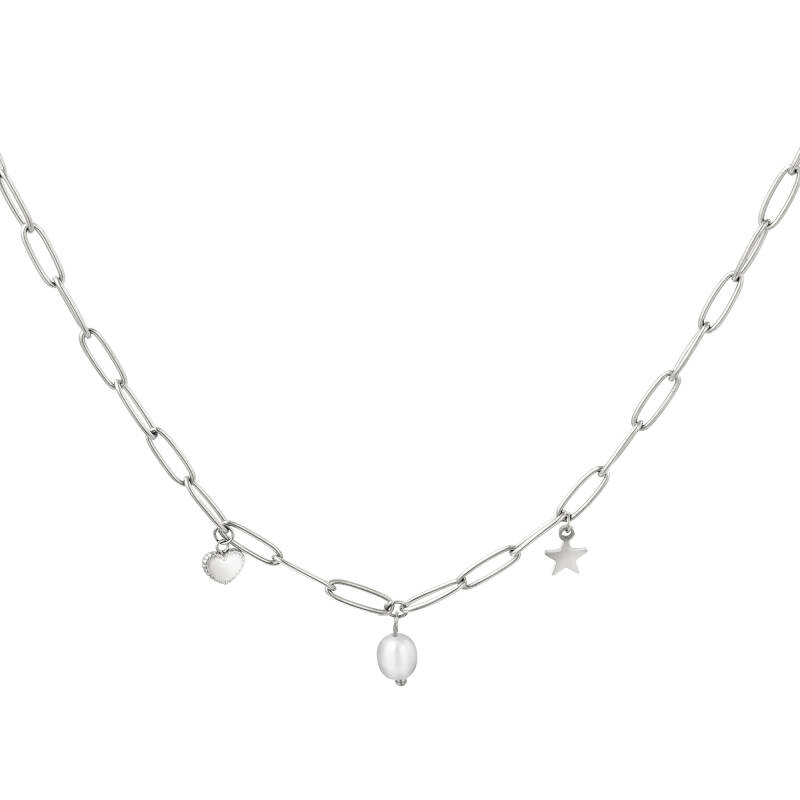 necklace with heart, pearl and star charm- zilver