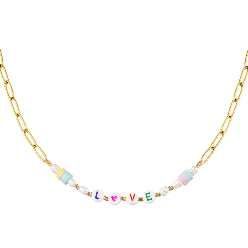 Stainless steel necklace Love- goud
