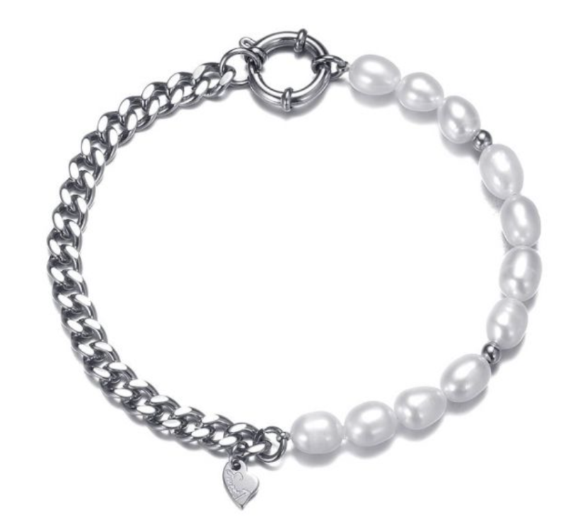 Armband chains and pearls - zilver