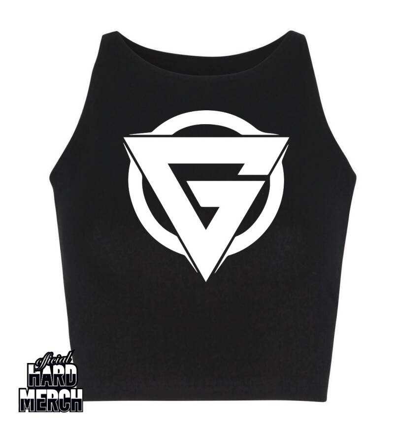 Glitch Logo in white skinny Croptop