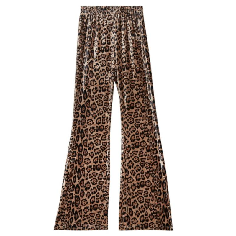 Flared pants leopard fluffy