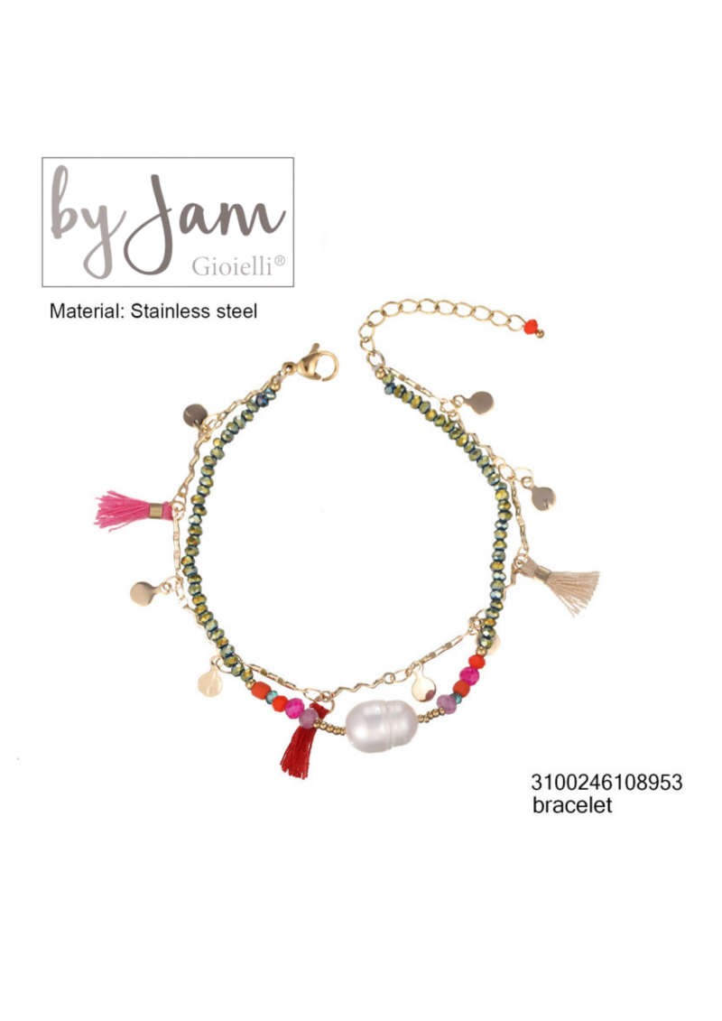 By Jam Gioielli   Armband - Pink pearl