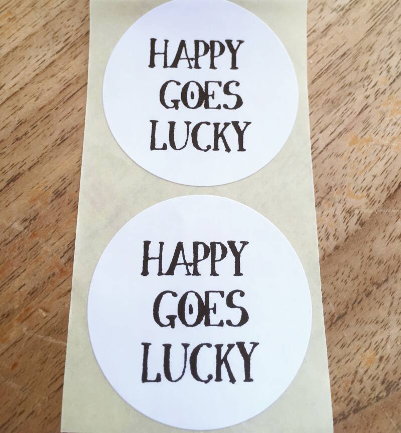 """Luxe cadeau stickers """"Happy goes Lucky"""""""