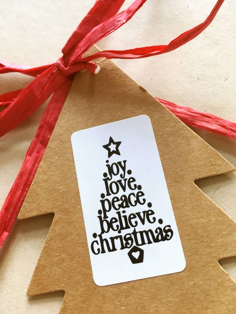 "Luxe cadeau stickers ""`Joy Love Peace Believe Christmas"""