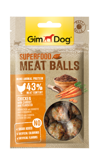 GimDog Superfood Meat Balls kip met wortel en lijnzaad 70 g