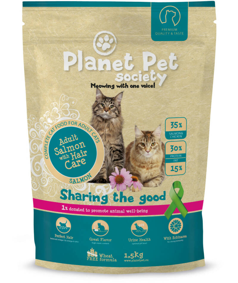 Planet Pet Society Cat Hair Care Zalm 1,5kg