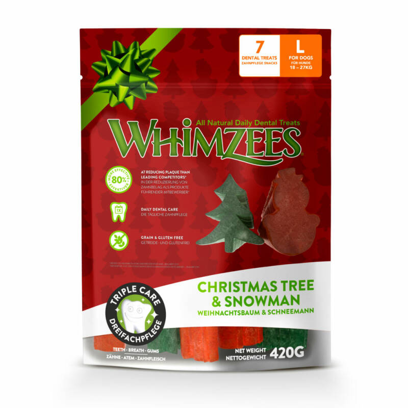 Whimzees Christmas Tree & Snowman L 7st