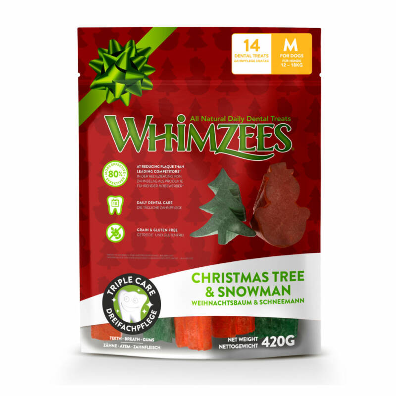 Whimzees Christmas Tree & Snowman M 14st