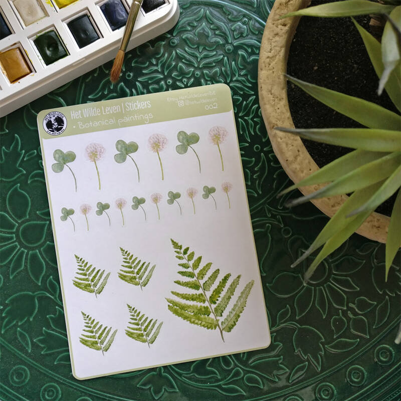 Stickers: botanical watercolor paintings 002