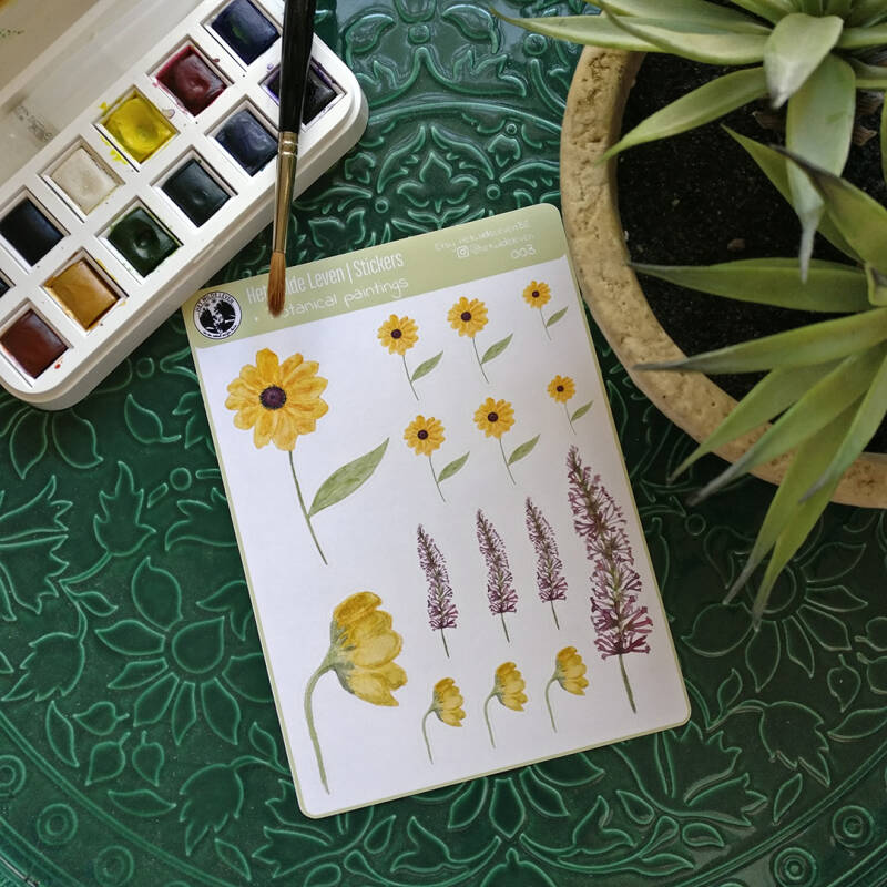 Stickers: botanical watercolor paintings  003