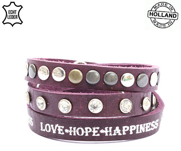 Lederen armband Love-Hope-Happiness