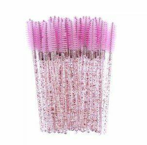 Light Pink Glitter Wimper Brushes 50st