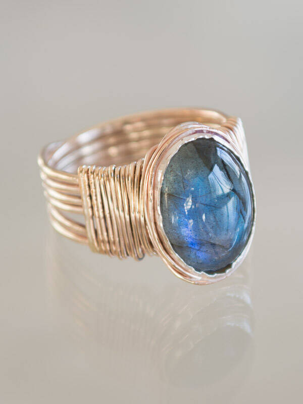 Ring Wire Wrapped Labradoriet