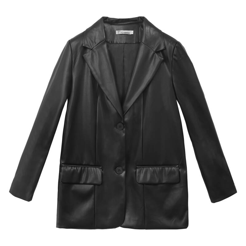 Luna leatherlook blazer - black