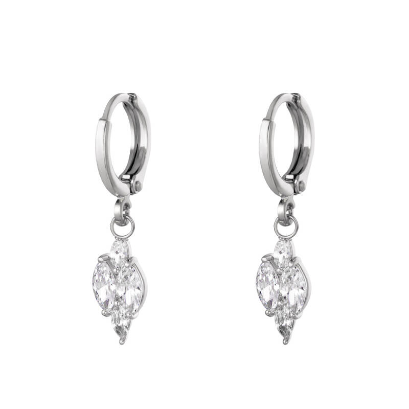 Oorbellen shining diamond - silver