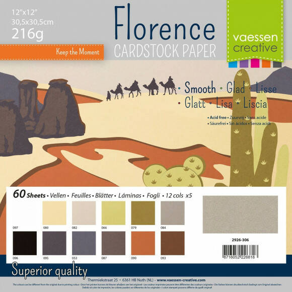Florence Cardstock smooth 30,5x30,5cm 12x5 Earth tones (2926-306)