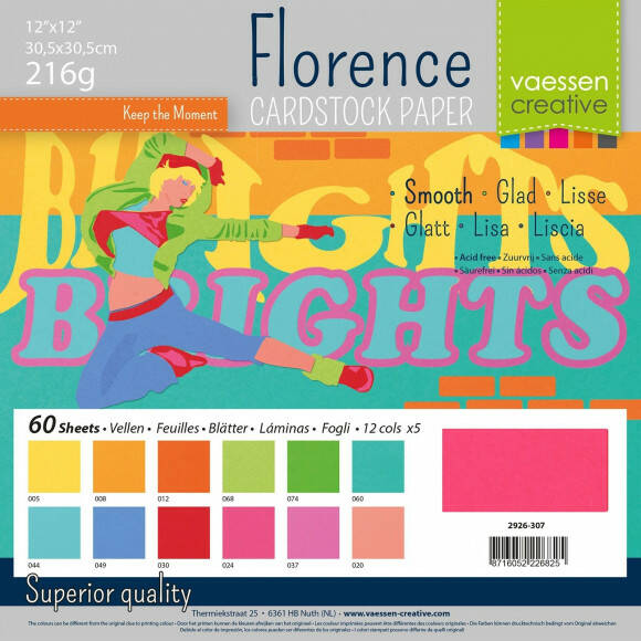 Florence Cardstock smooth 30,5x30,5cm 12x5 Brights (2926-307)