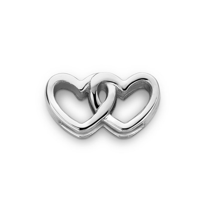 MESH CHARM DOUBLE HEART SILVER
