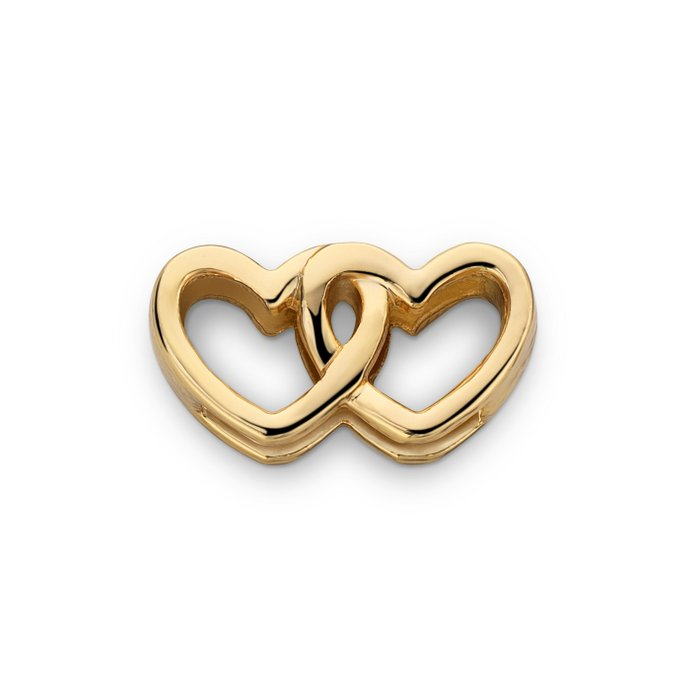 MESH CHARM DOUBLE HEART GOLD