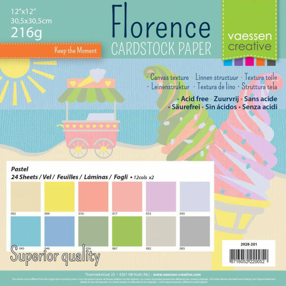 Florence  Cardstock multipack 30,5x30,5cm Pastel (2928-201)